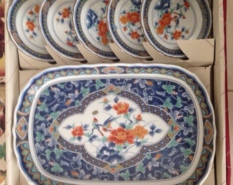 Vintage Japanese Serving Platter and Plates