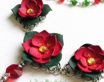 Red Garden necklace, flower jewelry, red and green jewelry
