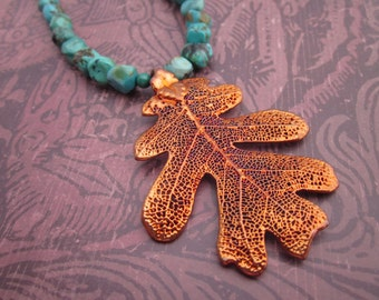 Copper Oak Leaf and Turquoise Necklace