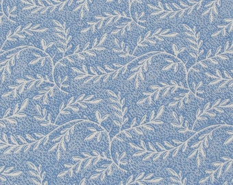 """35"""" Blue Quilting fabric with leaves Remnant/ End of Bolt 1377"""