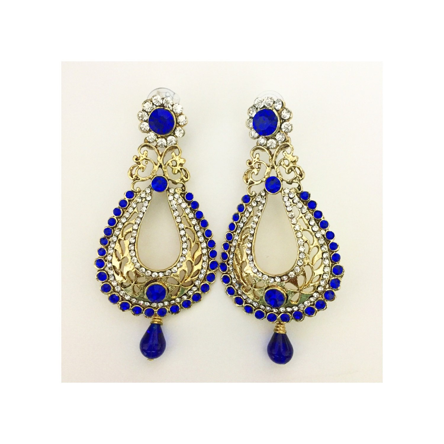 Simple Goldtone Indian Women Drop Dangle Earring Set Wedding Jewelry BSE160-PAR | EBay