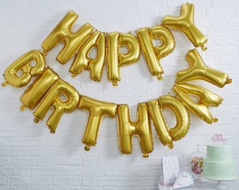 Gold Happy Birthday Foil Balloon Bunting - Pick And Mix