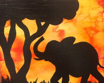 African Safari Sunset with Elephant