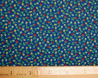 Calico Fabric Blue Red Yellow VIP Ye Olde Calico Cupboard