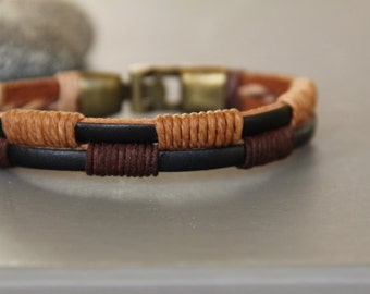 Bracelet leather and metal man bronze
