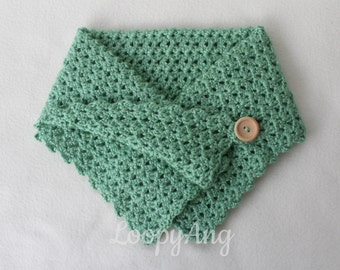 Crochet Neck Warmer Buttoned Cowl Scarf Sage