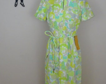 Vintage 1960's Maxi Dress / 60s Neon Abstract Print Dress S/M  tr