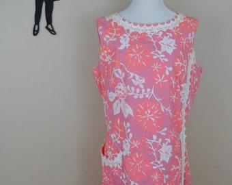 Vintage 1960's Floral Shift Dress / 60s Day Dress L/XL  tr