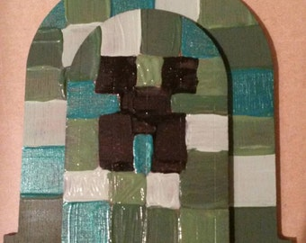 Mine craft,  creeper, fairy door, portal, gate way, gateway, gamer accessories, mine craft accessories, whimsical, whimsy
