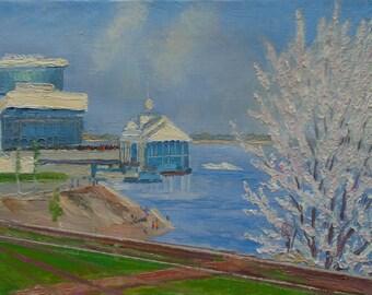 VINTAGE IMPRESSIONIST WATERSCAPE Original Oil Painting 1970s, Handmade Artwork, Port Painting, Soviet Ukrainian Russian artwork