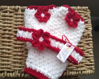 Handmade Crochet Red, White legwarmers and Headband, children, tween, teenager