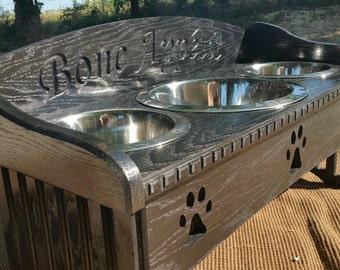 3 Bowl Dog Feeder with Backsplash Mission Style design on the sides. 6'' up to 17'' sizes