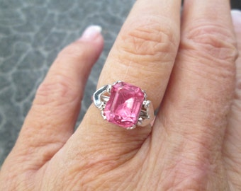 Vintage Pink Topaz Ring, size 8 only, never worn