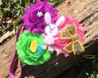 Easter Bunny  Headband, Easter Headband , Newborn, Baby, Infant, Toddler, Easter Flower Headband , Girls Easter  Headband, Photo Prop