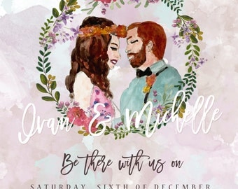 100 sets x Handpainted Boho Couple Wedding Invitation Cards