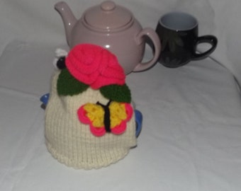 Butterfly,Bumble Bee, Tea Cosy, Hand Knitted floral with butterfly & bumble bee Tea Cosy, Ideal Housewarming Gift, Birthday, Christmas Gifts