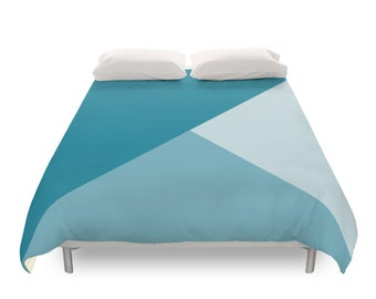 Geometric Tones Duvet Cover, 5 Cold Colors, Retro Geometrical Mix, Mid Century, Blue Modern Bedding, Scandinavian, Twin, Full, Queen, King