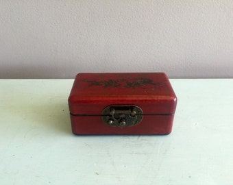 Cherrywood asian jewelry box with brass fittings,