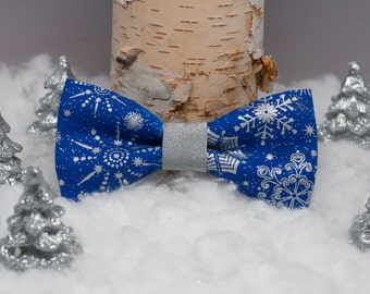 Blue and Silver Snowflake Doggie Bow Tie