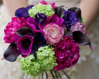 silk flower wedding bouquet 'colour pop' real touch faux flowers