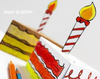 Birthday Paper Cake favor baking party box printables coloring sheet activity  - Editable Text Printable PDF  1054