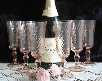 Set of 6 Vintage Fluted, Pink Champagne Glasses, Glassware, Tableware, Dinnerware, Glass Serving Set, Party Glassware, Wedding Accessories
