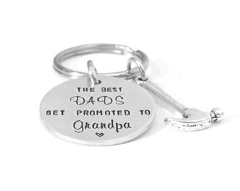 Grandpa Keychain - The Best Dads Get Promoted to Grandpa - Personalized Grandpa Gift - Grandfather Keychain - Hand Stamped Keychain