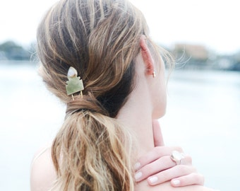 Hair Pin, moonstone, hairpin, hair accessories, bridal jewelry, hair piece, moonstone, silver, brass // AURES HAIRPIN