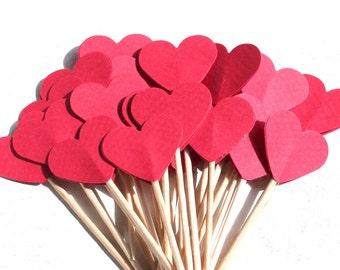 20 Süße Cupcake-Toppers, rotes Herz, Liebe, Muffin-Dekoration, Herz, Kindergeburtstag, verlobung