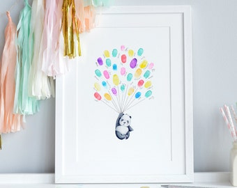 UNFRAMED Finger Print Art, Thumb Balloons, New Baby Picture, Baby Shower Gift, Guest Sign, Maternity Leave, New Mum Gift, Present, Keep sake
