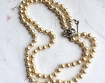 Vintage pearls, string of pearls, faux pearls, 3 strand pearl necklace, vintage pearl necklace, vintage bridal pearls