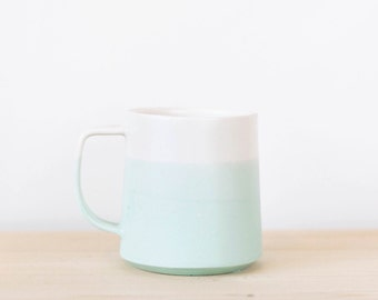 The Danish Mug in Mint + White *MADE TO ORDER* | Modern Ceramic Vase | Danish Design | Scandinavian | Mint and White | Ombre | Modern