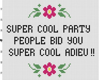 Super Cool Party People Cross Stitch Gilmore Girls Quote Pattern