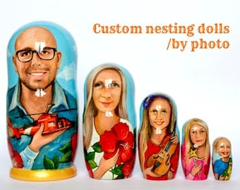 Custom Nesting Dolls - Family Matryoshka - Russian Nesting dolls with portrait - Dolls Set- Personalized gift - Personalized Nesting Dolls