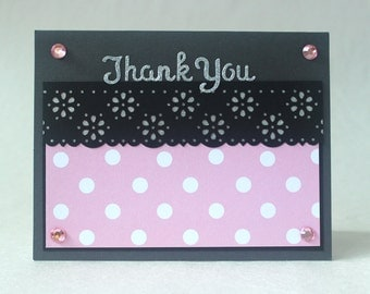 Glittery Thank You Card, Polka Dots and Flowers Thank You, Paper Handmade Greeting Card, Pink and Black Card