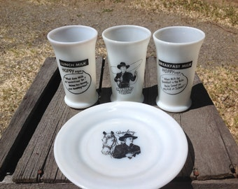 Hopalong Cassidy plate and glasses