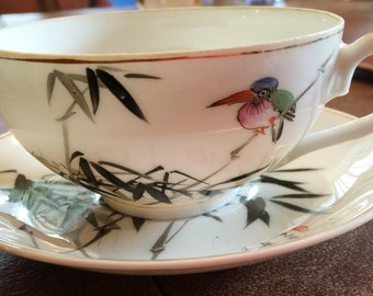 Unique Design! Bird and Grass on Teacup and Saucer 'Hand Decorated my China Ceramic Co. Hong Kong