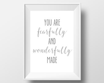 You Are Fearfully And Wonderfully Made Print, Gray Nursery, Nursery Decor, Nursery Wall Art, Printable Quote