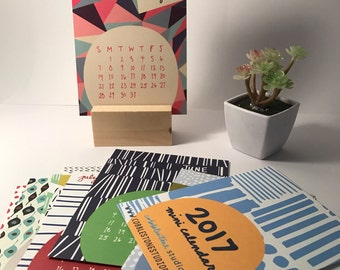 SALE Mini 2017 Desk Calendar with display stand - Monthly Calendar - 2017 color Calendar - 2017 Desk Calendar - Pattern Calendar - Graphic