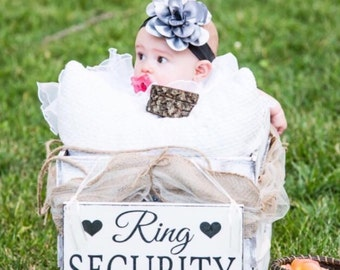 WEDDING SIGNS | Ring Security | Bride and Groom | Mr and Mrs | Wood Wedding Signs | Flower Girl Signs | 6 x 11.5