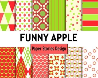 FUNNY APPLE,  Commercial Use, Personal Use, Digital, Scrapbooking, Printable, Instant Download, jpeg, pdf, Pattern Paper, Paper Pack