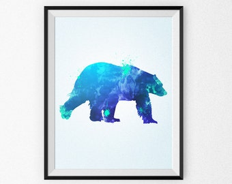 Watercolor Bear Painting - Watercolor Nursery Art - Wall Art - Blue Bear - Watercolor Canvas - Watercolor Print