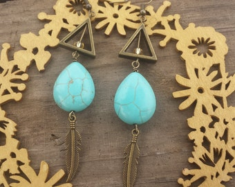 Bronze Triangle and Turquoise Bead Earrings