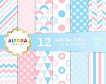 Light Blue and Pink Digital Paper Pack, Instant Download, Scrapbook Paper, Polka Dot, Chevron, Stripes