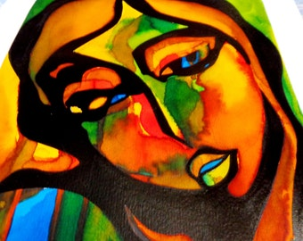 Multicolor Madonna. Painting modern colourist. Liquid watercolor and ink on paper.