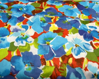 "Pansey Floral Print Blues, Reds, Yellows, Greens, & White 42""W Cotton Vintage Quilt Apparel Fabric Sold by the Yard"
