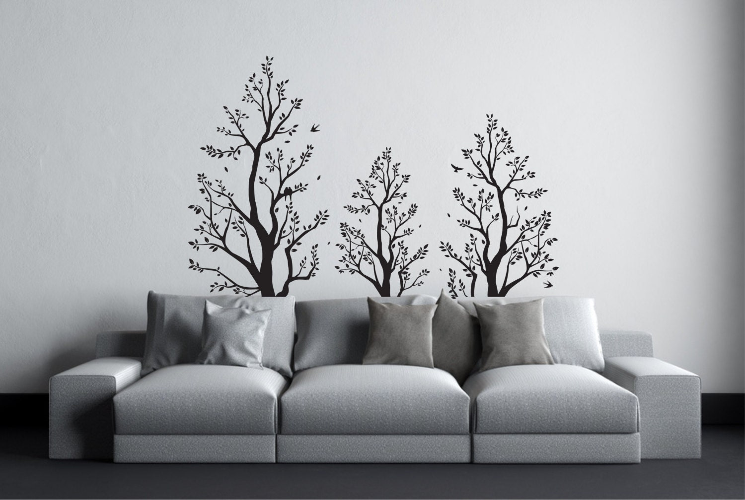 tree wall sticker with birds above bed decor over bed wall. Black Bedroom Furniture Sets. Home Design Ideas