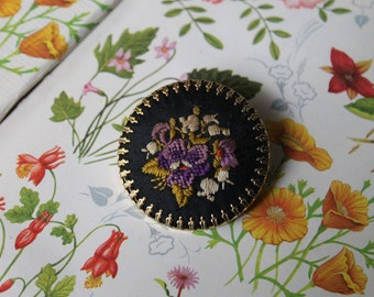 Vintage Embroidered Flower Pin Brooch