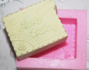 Happy Birthday Soap Mould Silicone Mold Handmade Soap Mold, M835