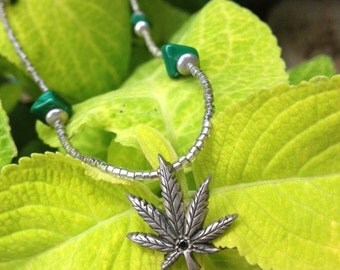 Handmade Silver Cannabis with Black Diamond Bead Necklace
